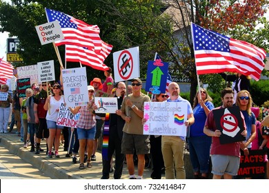 Springfield Missouri - August 30 2017  Anti trump protesters at presidents visit to Loren Cook speech on taxes.