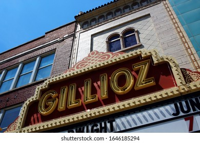Springfield, Missouri - June 12 2015: The sign and marquee for the Historic Gillioz Theatre.