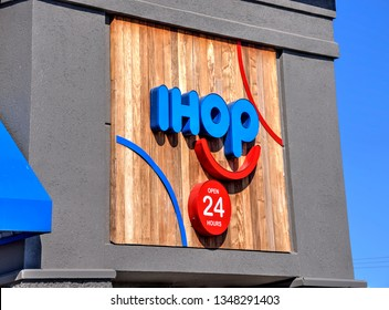 Springfield, Missouri - March 22, 2019: International House of Pancakes (IHOP) is an American multinational pancake house restaurant chain that specializes in breakfast foods.  Editorial.