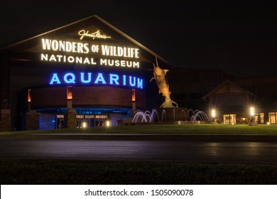 Springfield, Missouri / United States of America - 9/13/2019 Wonders of Wildlife National Museum and Aquarium - picture taken at night with long exposure.