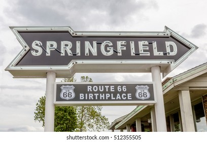 Springfield Missouri, USA- May 18, 2014. Springfield road arrow sign in best western route 66 rail haven.