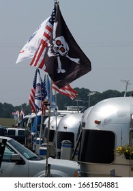 SPRINGFIELD, MISSOURI/US-JUNE 29 2005 Flags are a dominant feature at an Airstream Rally. This one is in June 2005 in Springfield, Missouri