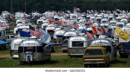 SPRINGFIELD, MISSOURI/US-JUNE 29 2005 Hundreds of Airstream trailers and their owners gathered in Springfield, Missouri in June 2005.