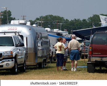 SPRINGFIELD, MISSOURI/US-JUNE 29 2005 Talking to and meeting other Airstream owners is a key reason for Airstream rallies like this one in June 2005 in Springfield, Missouri