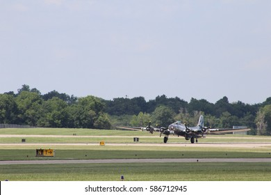 SPRINGFIELD, MO - JUNE 26, 2016: Boeing B-17 taking off at the Springfield-Branson National Airport