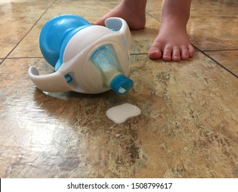Springfield, MO / USA - September 19 2019. Spilled sipper cup of milk with toddlers feet in background.