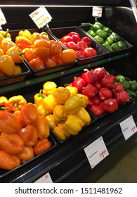 springfield, MO / USA - September 20 2019. Organic bell peppers in Lucky's market grocery store. Vegetables and produce.