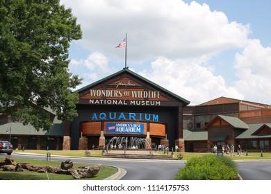 Springfield, mO/USA - June 16 2018 Original Bass Pro Store with Aquarium and Wildlife Museum.  A popular destination for locals and tourists.