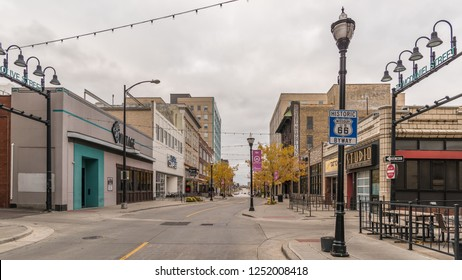 SPRINGFIELD, MO/USA - NOVEMBER 4, 2018: Historic Missouri US 66 Byway sign on South Jefferson Avenue in downtown Springfield, Missouri.
