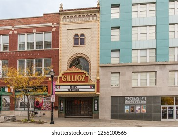 SPRINGFIELD, MO/USA - NOVEMBER 4, 2018: Blues Traveler, an American Rock Band, plays inside; autumn colors outside the vintage Gillioz Theatre, on Route 66.
