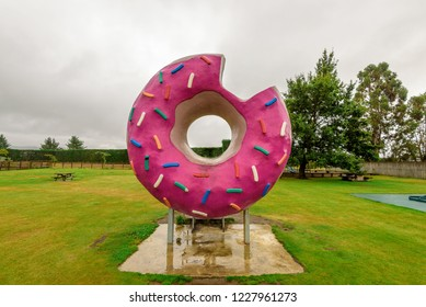 "Springfield, New Zealand. March 2017. The ""Springfield Donut"", inspired by the long-running animated comedy ""The Simpsons""."