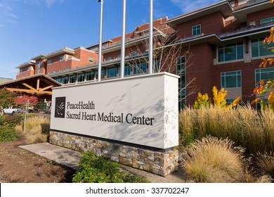 SPRINGFIELD, OR - NOVEMBER 4, 2015: PeaceHealth Sacred Heart Medical Center is the main hospital for the Eugene/Springfield area in Oregon.