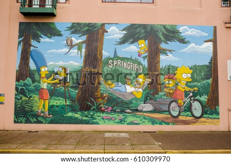 SPRINGFIELD, OR - NOVEMBER 9, 2016: Mural from the popular animated tv show the Simpsons in Springfield Oregon.
