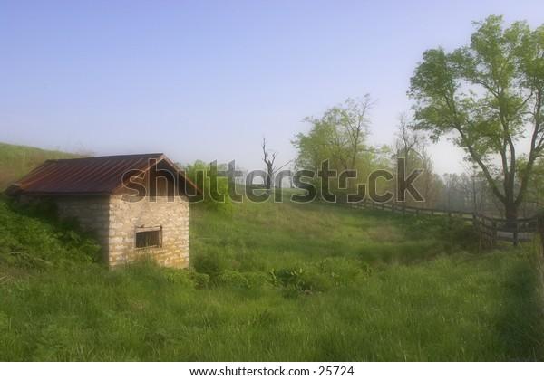 Springhouse on a farm.
