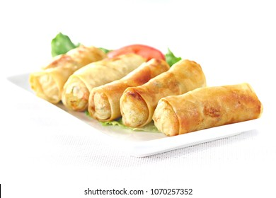 Springrolls isolated on the white plate, shallow focus