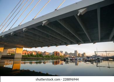 Springtime Dawn Suspension Bridge Highway 509 Downtown Tacoma Washington