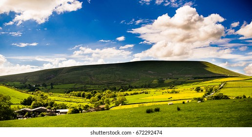 Springtime in Forest of Bowland, View at Pendle Hill on Sunny Day, Lancashire, England UK
