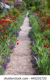 Springtime garden in Giverny France has an abundance of beautiful flowers