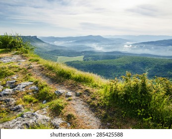 Springtime landscape in mountainous part of Crimea.Morning in the mountains.