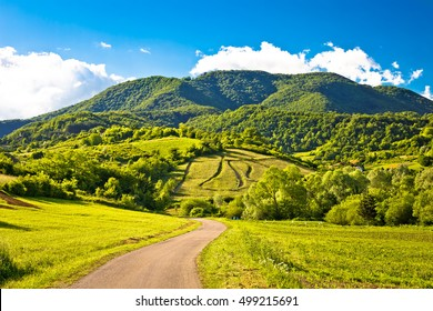 Springtime landscape on Plesivica hills, Zumberak, Croatia
