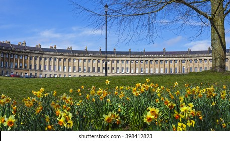 A springtime view of the beautiful Royal Cresecent in Bath, Somerset.