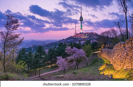 Springtime's Sunset at Namsan mountain or Namsan Park in Seoul city South Korea.