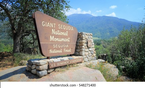 SPRINGVILLE, UNITED STATES - APRIL 12, 2014: Entrance sign to Giant Sequoia National Monument in California. National Monument was created in 2000 and covers area of 1330 km2.
