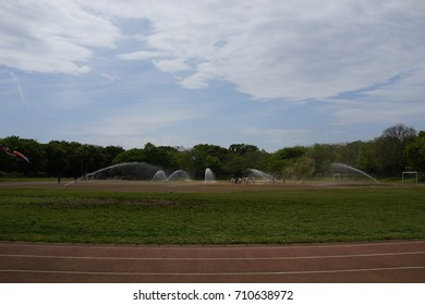 sprinkler at field