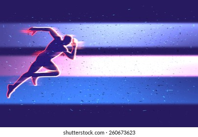Sprinter runner at the start, running man. Sports clipart. Background for sports web page banner poster flyer leaflet brochure. Runner at the start on blurred background