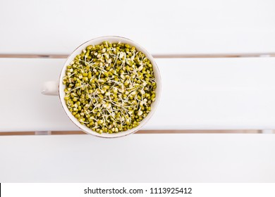 Sprouted mung beans bowl from above on white table. Copyspace