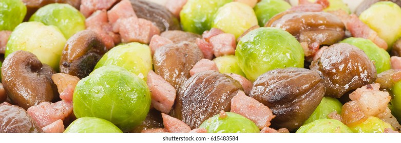 Sprouts, Chestnuts & Bacon - Brussels sprouts cooked with lardons and chestnuts.