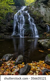 Spruce Flats falls and autumn leaves in the Great Smoky Mountains National Park in Tennessee