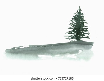 Spruce. Watercolor background with place for text.