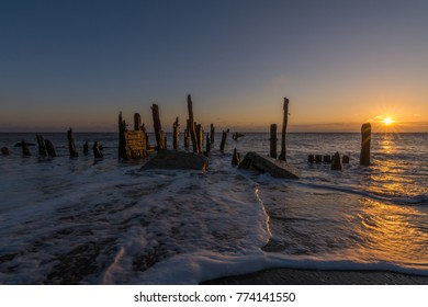 Spurn Point old wooden groynes and beach sea defences