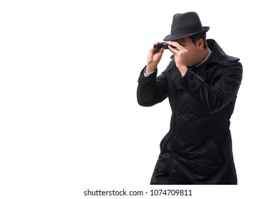 Spy with binoculars isolated on white background