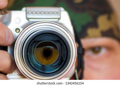spy with camera. paparazzi  photografer.