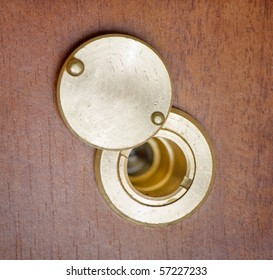 spy hole or peephole view at door