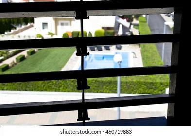 Spy looking on garden