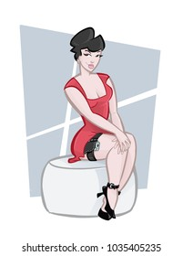 spy pinup girl red dress sit puff