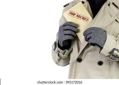 Spy showing top secret documents