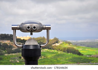 Spy Viewing machine on natural scenic background