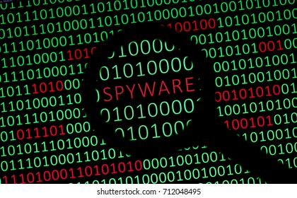 Spyware In Your Data / Magnifying glass showing the word SPYWARE in red on a computer screen filled with green ones and zeros. Depiction of a spyware among data.