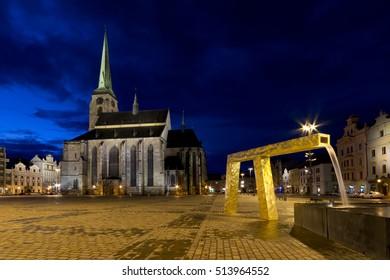 Sqare in town Plzen at night, Czech republic