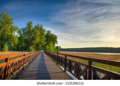 Sqirrel path in Olecko -  route around the Olecko Wielkie Lake. View from the lake. Masuria, Poland.