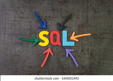 SQL modern programming language for database in software development or application concept, multi color arrows pointing to the word SQL at the center of black cement chalkboard wall.