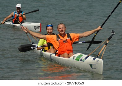 SQUAMISH, BC, CANADA - JULY 18, 2015: Athletes compete during the 2nd annual CMW Canadian Surfski Championships 2015 in Squamish, BC, Canada, July 18, 2015.