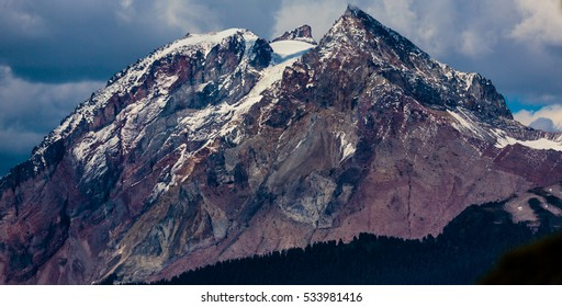 Squamish, BC, Canada - Sept. 21, 2016: Rising to an elevation of 2678 meters, Mt. Garibaldi offers a spectacular backdrop to the small town of Squamish in the Howe Sound.