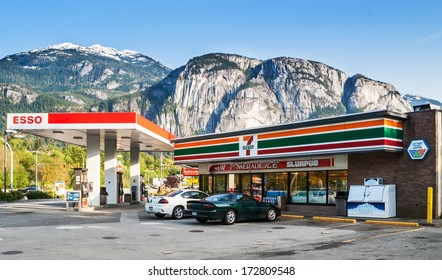 SQUAMISH, CANADA - MAY 12, 2007: 7-Eleven store and Esso gas station on Cleveland Avenue. 7-Eleven is largest operator and franchisor of convenience stores in the world with more than 50,000 outlets.