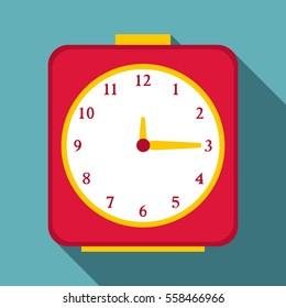 Square alarm clock icon. Flat illustration of square alarm clock  icon for web