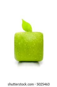 Square apple isolated on the white background